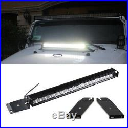 100W 21 LED Light Bar with Hood Mounting Bracket, Wiring For 07-17 Jeep Wrangler