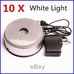 10 X Unique Rotating Crystal Display Base Stand 7 LED White Light + DC Adapter