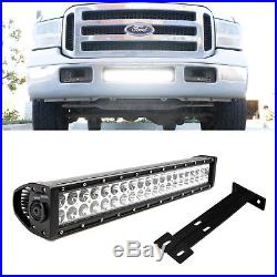 120W 20 LED Light Bar with Lower Bumper Bracket, Wirings for 99-07 Ford F250 F350