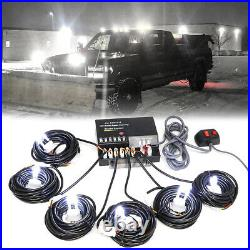 120W 6 LED HID Bulbs White Hide-a-way Emergency Warning Strobe Light System Kit