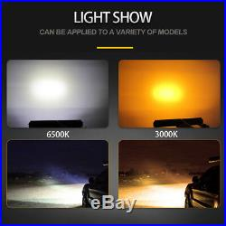 12D Curved 52inch 3915W LED light bar kit amber white dual color mount brackets