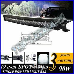 19 Inch LED CURVED SINGLE ROW OFF ROAD LIGHT BAR WORK LAMP For SUV ATV 4X4 4WD