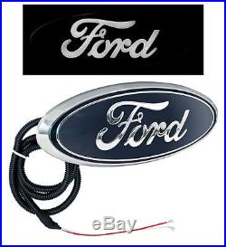 2004-2014 Ford F-150 9 Front Light Up Grille Emblem Chrome & Blue with White LED
