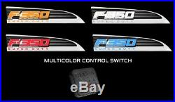 2011-2016 F350 Super Duty RED WHITE AMBER BLUE Light Up Fender Emblems Chrome