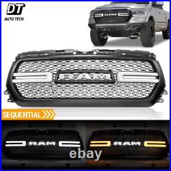 2019-2020 Ram 1500 Mesh Rebel Style Front Grill White LED Sequential DRL Light