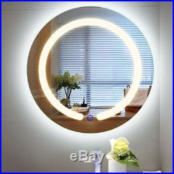 20 LED Mirror Illuminated Light Wall Mount Bathroom Round Make Up Touch Button