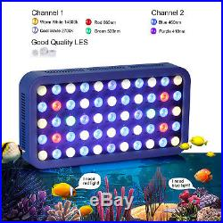 2Pcs 165W LED Aquarium Light Dimmable White Blue Fish Tank Reef Coral Grow Lamp