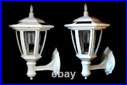 2-Pack Garden WHITE Solar Hexagon Lights with Wall Mount With WHITE LEDS