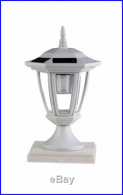 2-Pack WHITE Solar Hexagon Post Cap Lights with WHITE LEDS for 5X5 Fence Posts