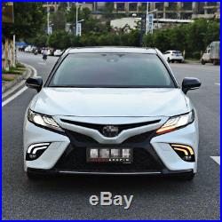 2pcs For Toyota Camry 2018 Car LED Daytime Running Light White+Yellow Drive Lamp