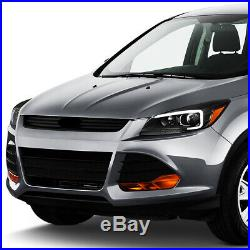 3d Led Drl Light Barfor 13-16 Ford Escape Black Amber Projector Headlight Lamp