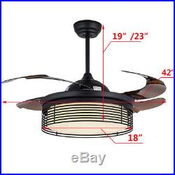 42 Modern Ceiling Fan Light Lamp Dimmable LED Chandelier Retractable WithRemote