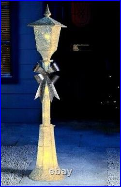 4ft Christmas Decorations Lamp Post & Bow 50 Warm LED Lights Indoor Outdoor 4668