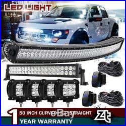 50Inch Curved LED Light Bar+22 inch+4 18W PODS OFFROAD SUV 4WD UTV VS 52/42/20