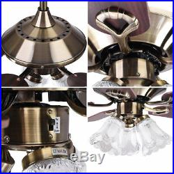 52 Ceiling Fan with Light 5 Blades Antique Bronze Reversible Remote Control Kit