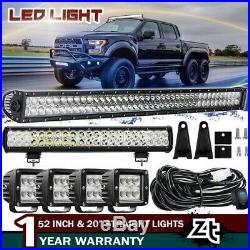 52in LED Offroad Light Bar Combo+20in+4x 18W PODS SUV 4WD UTE FORD TRUCK 50 42