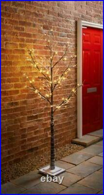 5ft 150cm Snowy Twig Tree With Warm White 96 LED Lights Home Decoration
