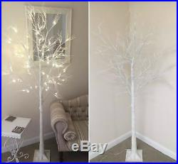 6ft Christmas Twig Tree Pre Lit 120 LED Warm White Lights Indoor & Outdoor Use