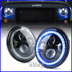 7 90W LED Projector Headlights With Blue Halo For 97-18 Jeep Wrangler TJ JK