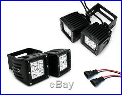 80W Dual LED Pod Lights with Foglight Opening Mount, Wires For Ford F150 F250 F350
