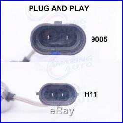 9005+H11 Combo LED Headlights High&Low Beam 6000K White 55W 8000LM High Power
