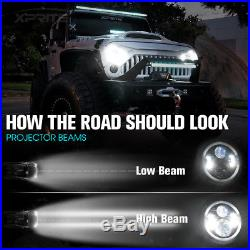 90W CREE LED 7 Headlights Bluetooth RGB Halo Ring For 97-18 Jeep Wrangler JK
