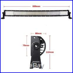 AUXBEAM Quad Row 32Inch 2448W Curved Led Light Bar Combo Offroad Truck Jeep 36