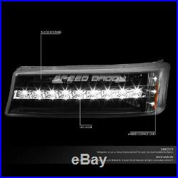 Black Housing Headlight+led Drl Bumper Light For 03-07 Chevy Silverado/avalanche