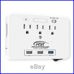 CRST 3-Outlet LED Night Light Sensor Wall Tap with Dual USB and Quick Charge 3.0