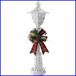 Christmas 90cm 25 LED White Glitter Lamp Post Bow Indoor Outdoor Lights Up Tall