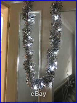 Christmas Silver Tinsel Garland/25 White LED Lights Fireplace/Table Decor/Tree