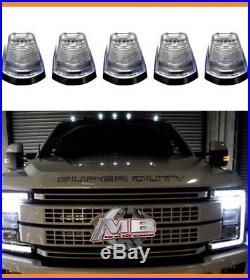 Clear Lens WHITE LED Cab roof lights 5pc 2017 2018 Ford F250 F350 super duty