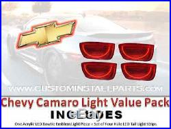 Combo Pack Rear LED Bowtie Emblem Halo Tail Lights Fits Chevy Camaro 2010-2013