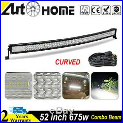 Curved 52 inch LED Work Light Bar 7D Flood Spot Offroad 4WD Heavy Duty Truck 50