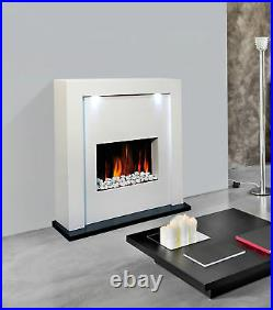 Electric Fire Fireplace Designer Floor Free Standing White Surround Led Lights