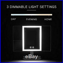 Fancii LED Lighted Makeup Mirror with 3 Color Temp, Rechargeable Trifold Vanity