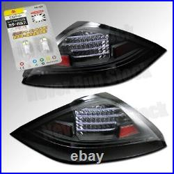 For 03-05 Honda Accord Coupe Black Led Tail Lights + White License Plate Bulbs