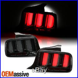 For 05-09 Mustang LED White Tube Black Smoked Tail Lights with Sequential Signal