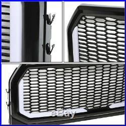 For 15-17 Ford F150 Badgeless Honeycomb Mesh Led Light Bar Front Bumper Grille