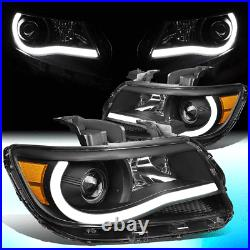 For 2015-2020 Chevy Colorado Led Light Tube Bar Projector Headlamps Black/amber