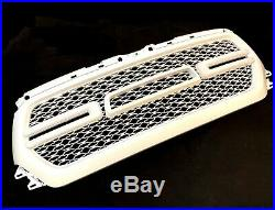 For 2019-2020 Dodge Ram 1500 Painted White Front Grill Mesh Grille withLED Lights