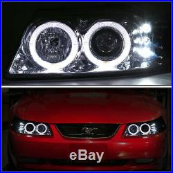 For 99-04 Ford Mustang Chrome Dual Halo Projector+led/amber Corner Head Light