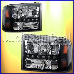 Ford F250 F350 Excursion Clear Black Headlights White Led Parking Lights Pair