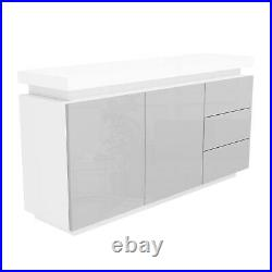 Grey & White Gloss Sideboard with LED Lights Large Vivienne