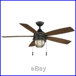 Hampton Bay Seaport 52 in. LED Indoor/Outdoor Natural Ir Ceiling Fan withLight Kit