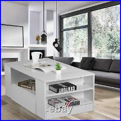 High Gloss Coffee Table Wooden Drawer Storage Modern Living Room Furniture