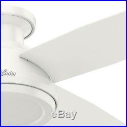 Hunter 52 Low Profile No Light Ceiling Fan with Remote Control, Fresh White