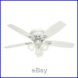 Hunter 52 Traditional Ceiling Fan in White with Swirled Marble Glass Light Kit