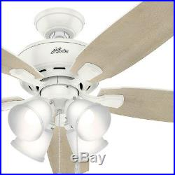 Hunter Fan 52 inch Fresh White Casual Ceiling Fan with 4 Dimmable LED Lights