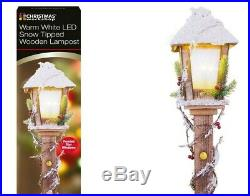 Indoor 85cm Brown Rustic Wood Christmas Lamp Post with Warm White LED Lamp Light